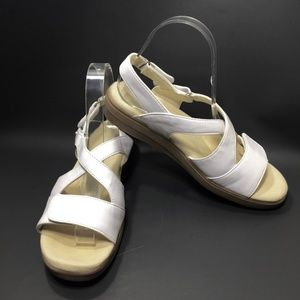 Grasshoppers White Cross Strap Low Heel Sandals